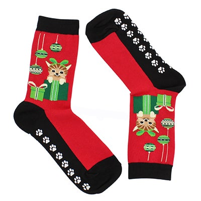 Hot Sox Women's CAT & ORNAMENTS with GRIPPERS red socks