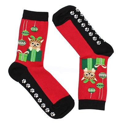 Hot Sox Chaussettes adhérentes CAT & ORNAMENTS, rouge, fem