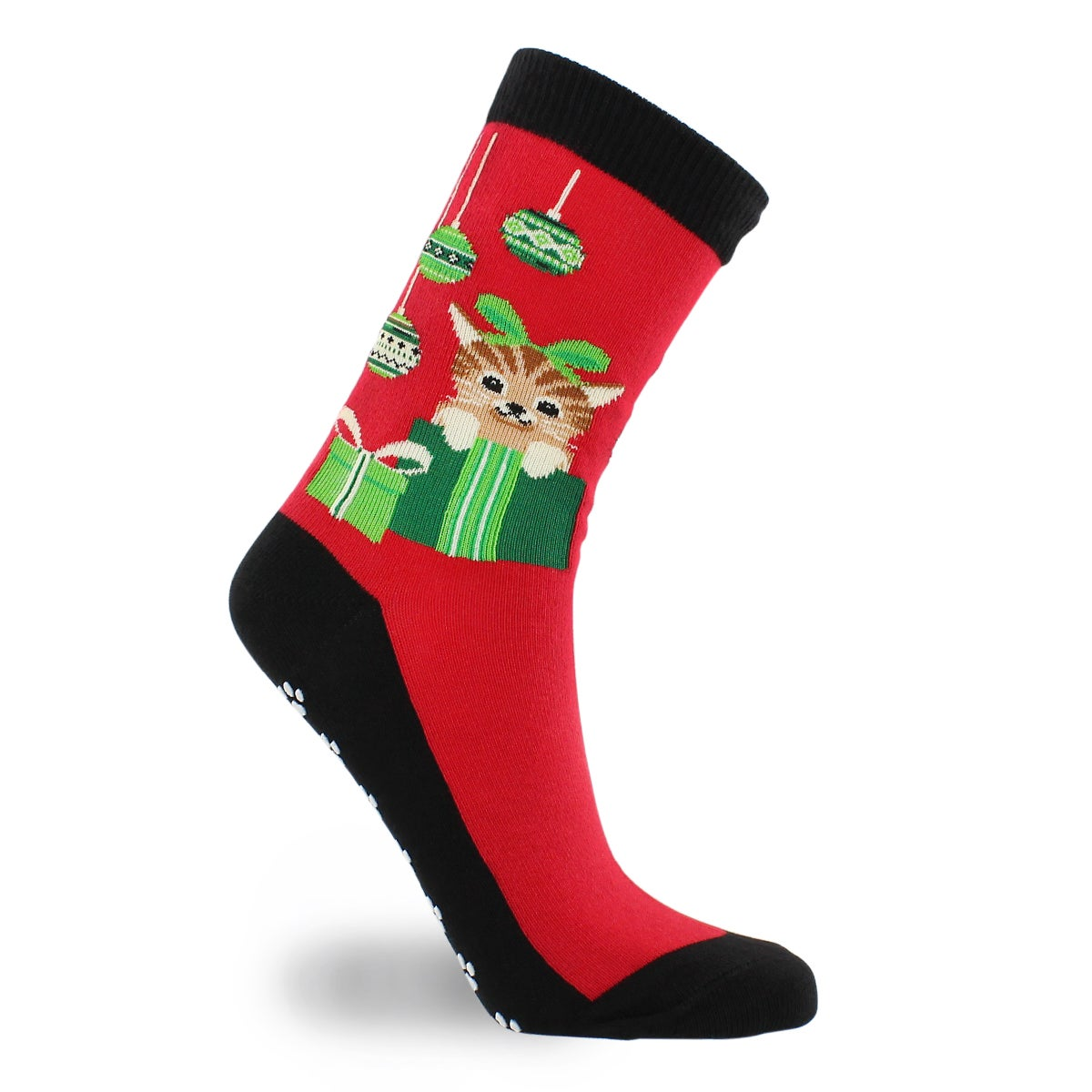 Lds Cat & Ornaments w Grippers red sock