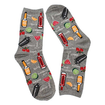 Hot Sox Women's COCKTAILS grey printed socks