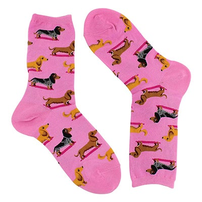 Lds Dachshunds pink printed sock
