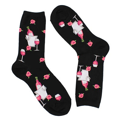 Lds Rose Wine black printed sock