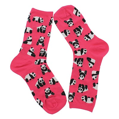 Lds Panda Bears bright pink printed sock
