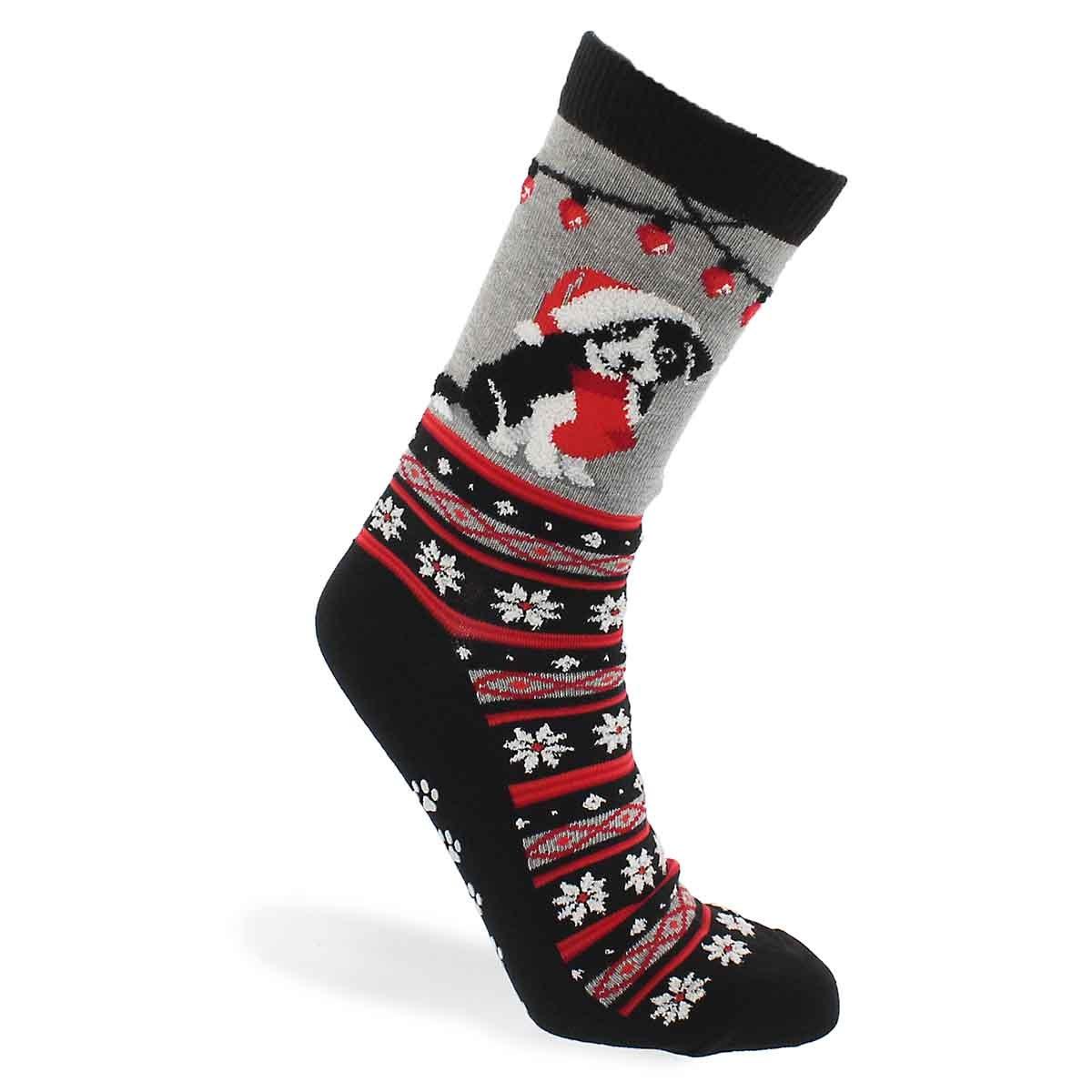 Lds Xmas Border Collie grey printed sock