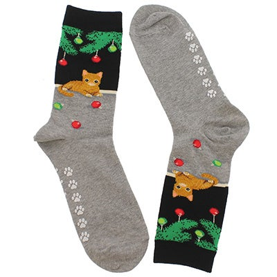 Hot Sox Women's CHRISTMAS CAT black printed socks