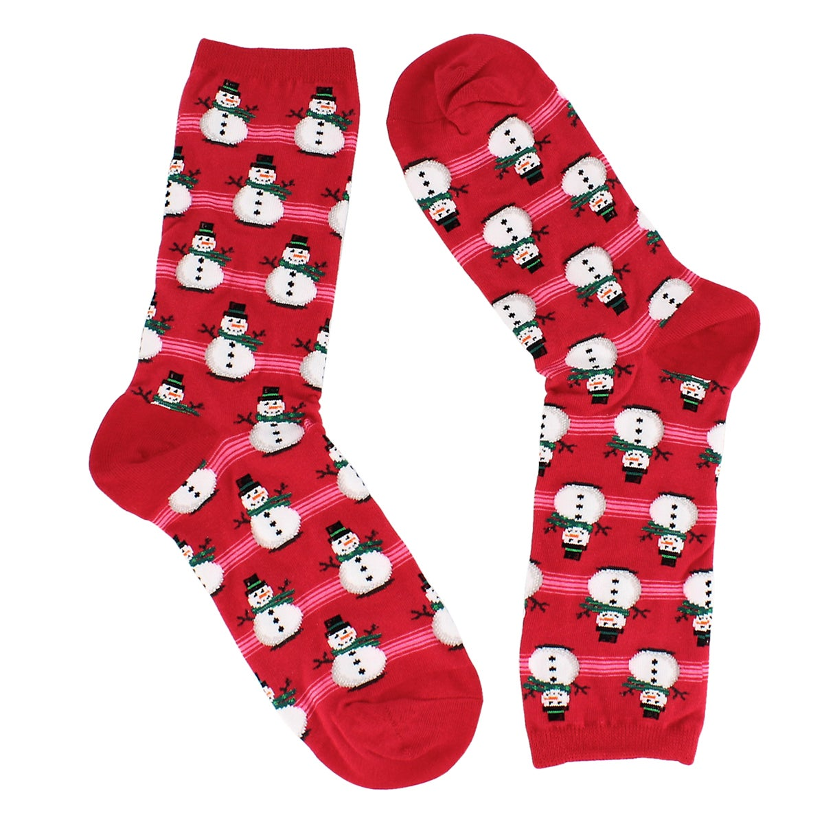 Women's SNOWMEN red printed socks