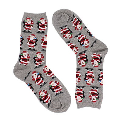 Hot Sox Women's SANTA WITH PRESENTS grey printed socks