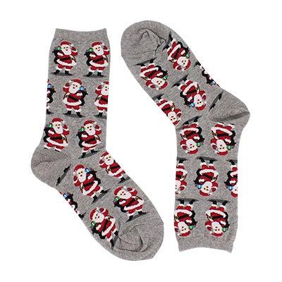 Lds SanthaWithPresents grey printed sock