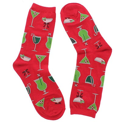 Hot Sox Women's CHRISTMAS COCKTAILS red printed socks