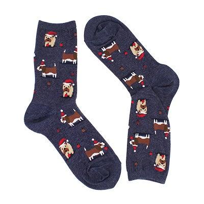 Lds Christmas Doggies grey printed sock