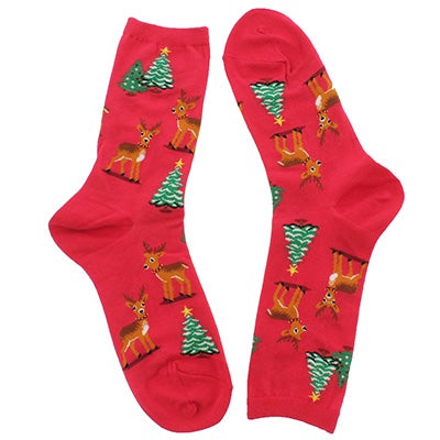 Hot Sox Women's REINDEER SCENE red printed socks