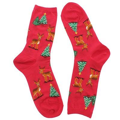 Lds Reindeer Scene red printed sock