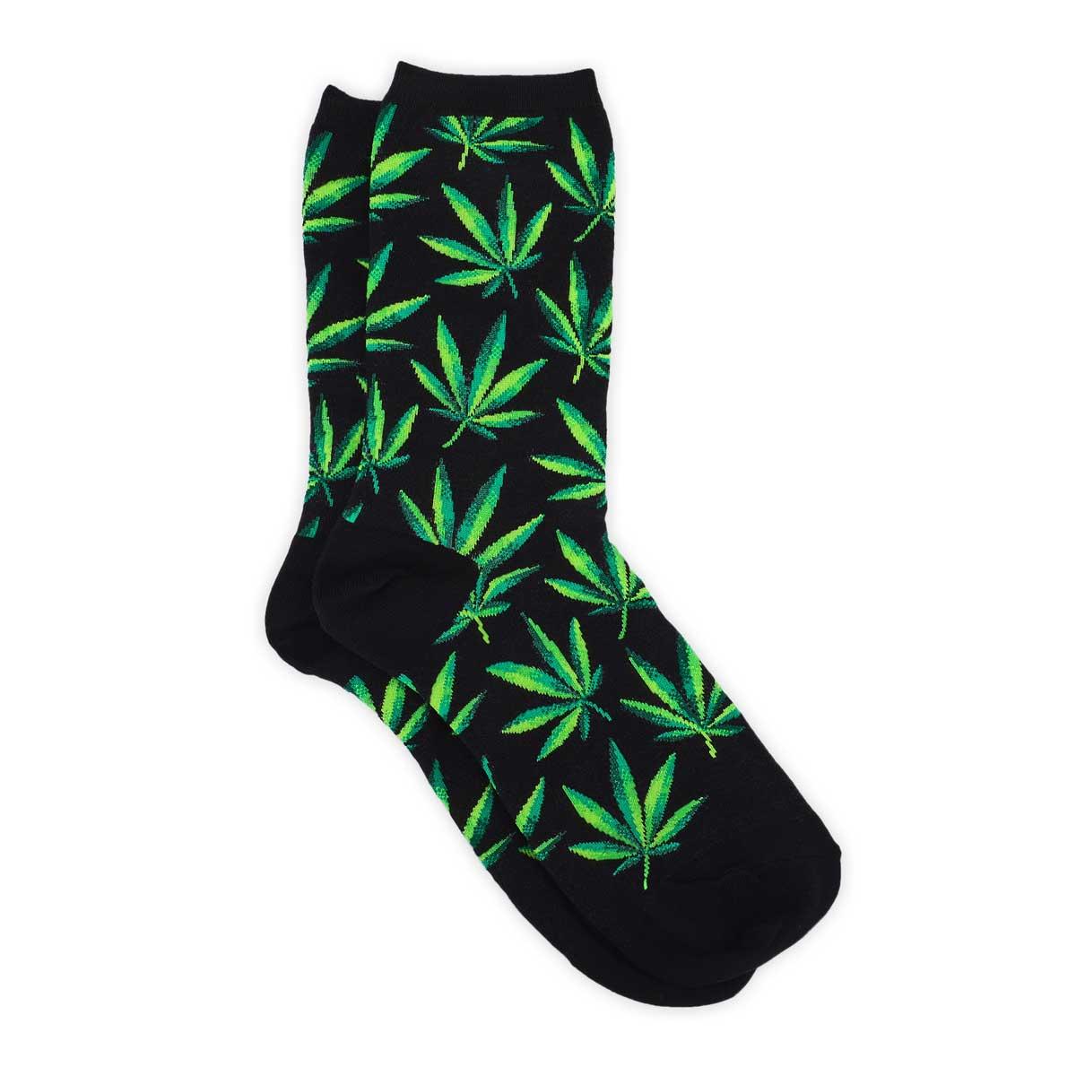 Lds Marijuana black printed sock