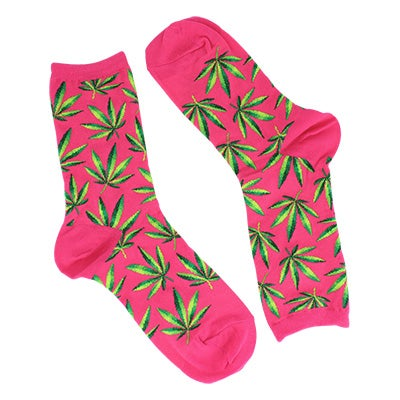 Hot Sox Women's MARIJUANA hot pink printed socks