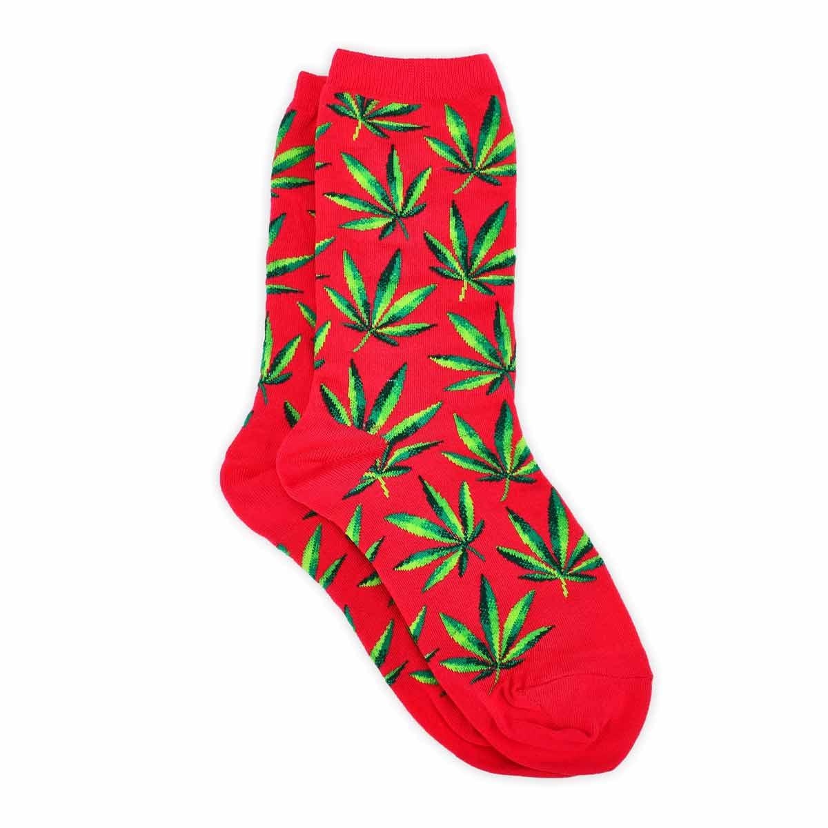 ChaussetteMarijuana,imprimé,rose vif,fem