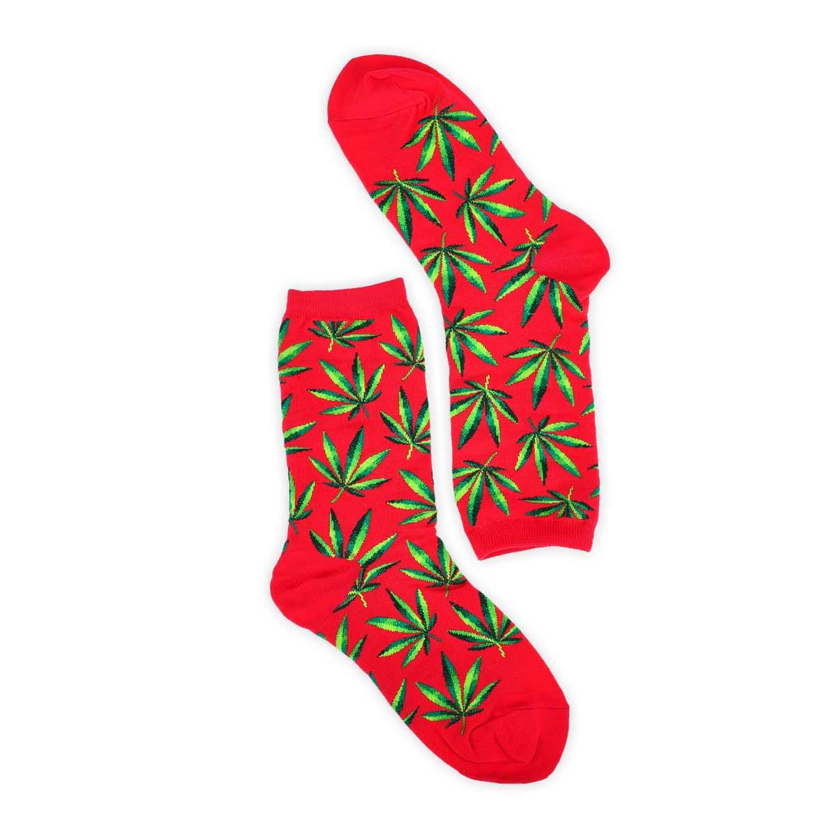 Lds Marijuana hot pink printed sock