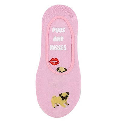 Hot Sox Women's PUGS & KISSES pink liners