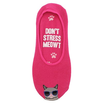 Hot Sox Women`s DONT STRESS MEOWT hot pink liner