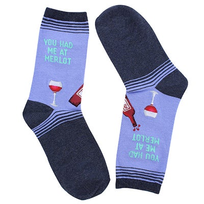 Hot Sox Women's U HAD ME AT MERLOT peri printed socks