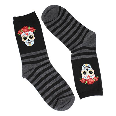 Hot Sox Women's SUGAR SKULL black printed socks