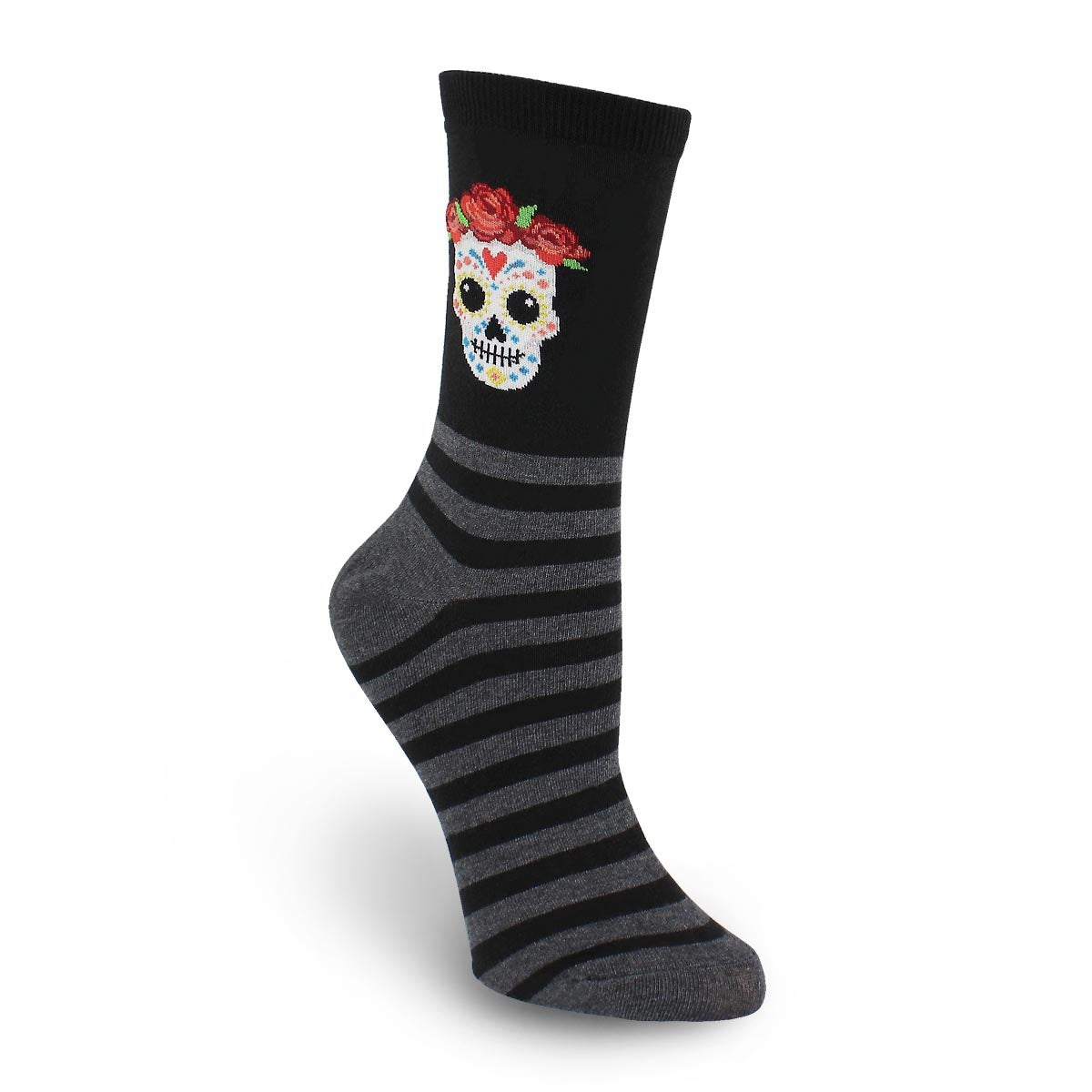 Lds Sugar Skull black printed sock
