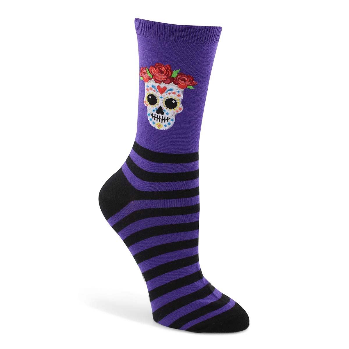 Lds Sugar Skull purple printed sock