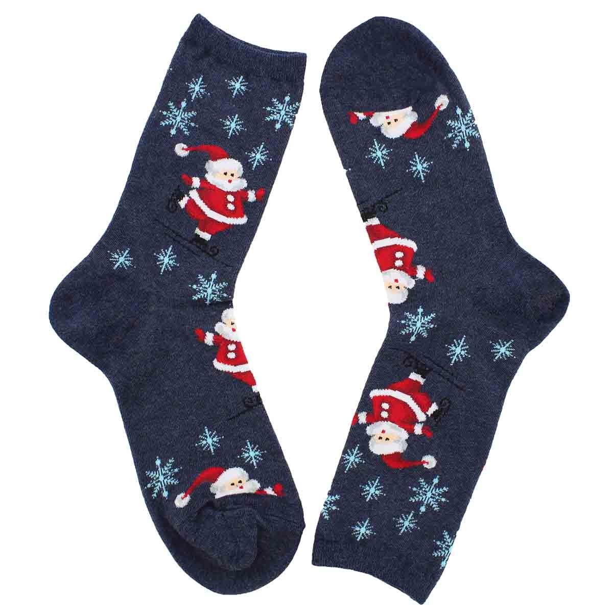 Lds Skating Santas grey printed sock