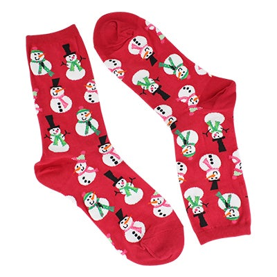 Hot Sox Women's SNOWMEN red printed socks