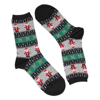 Lds Santa Fairisle black printed sock