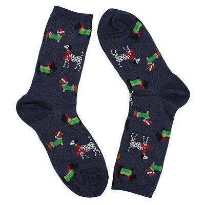 Hot Sox Chaussettes motif CHRISTMAS DOGS denim, femmes