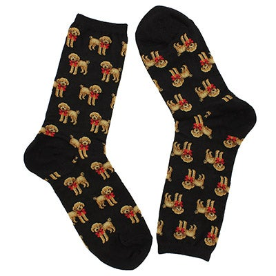Hot Sox Women's POODLE and BOW black printed socks