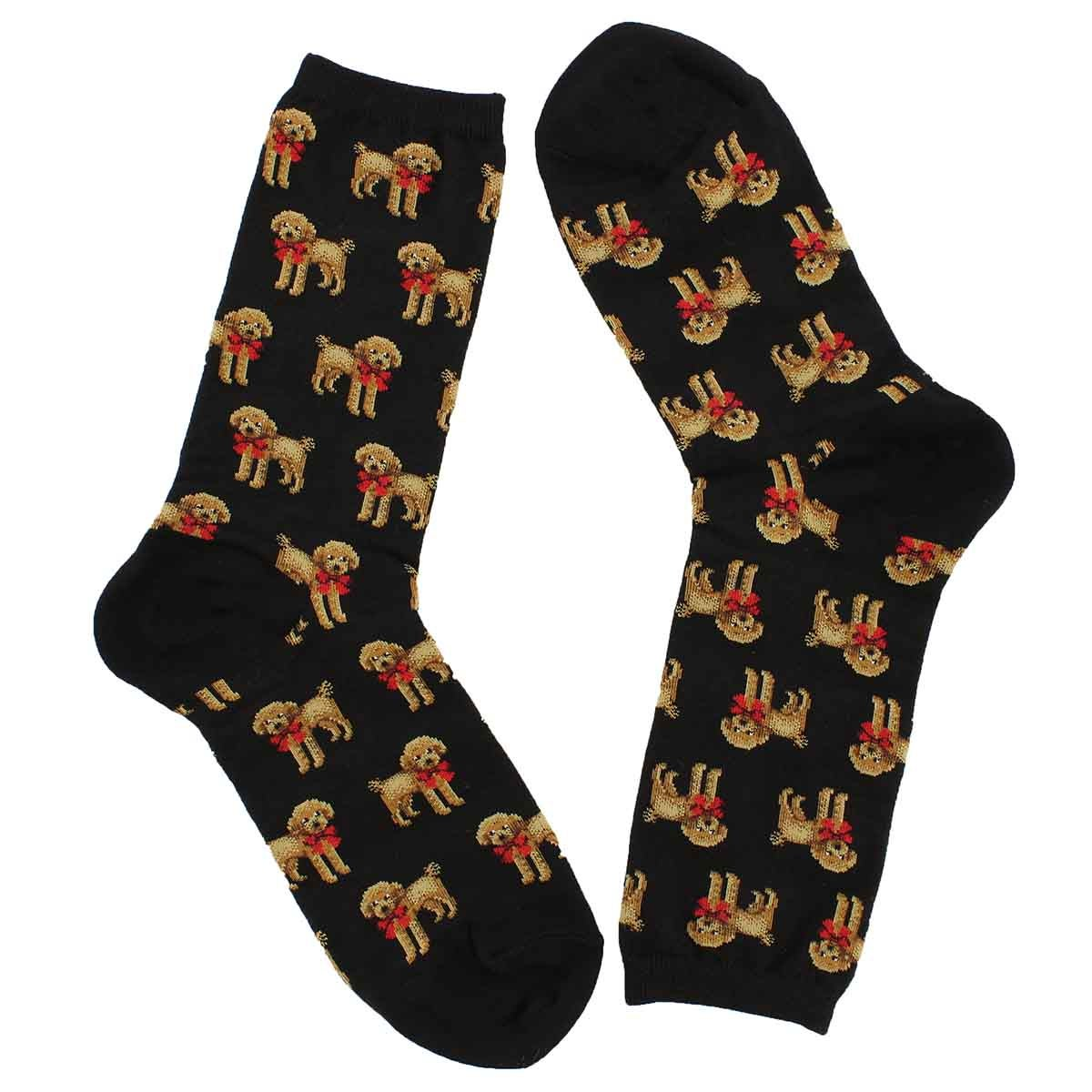 Lds Poodle and Bow black printed sock