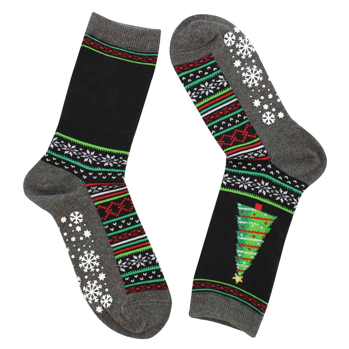 Lds Christmas Tree black printed sock