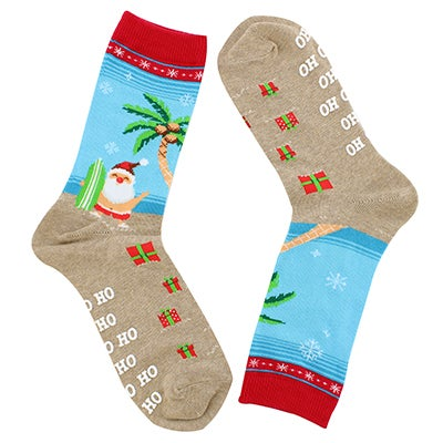 Lds Surfing Santa red printed sock