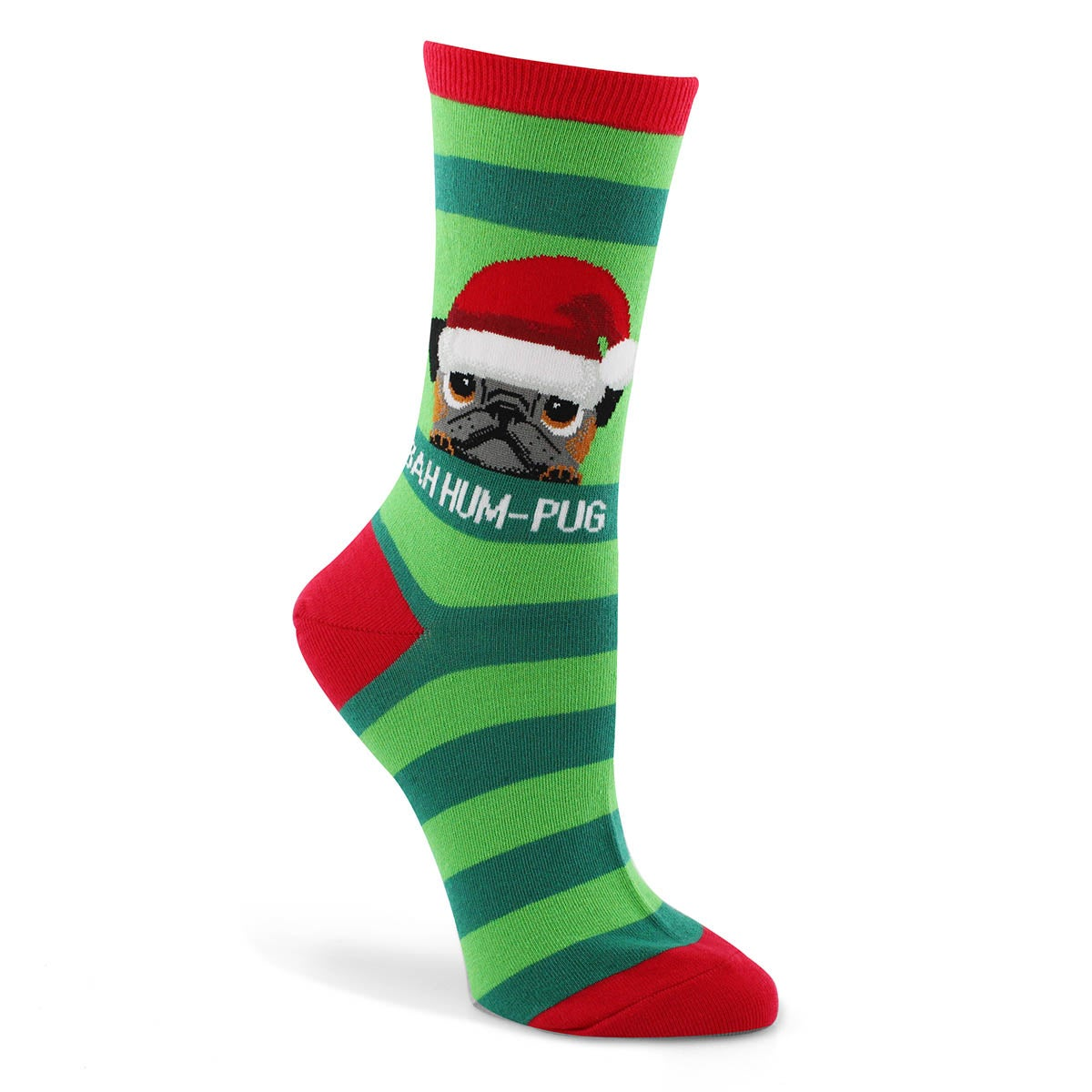 Lds Bah Humpug green printed sock