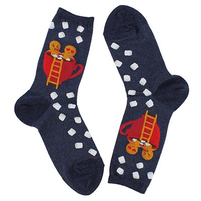 Hot Sox Women's GINGERBREAD couple denim socks