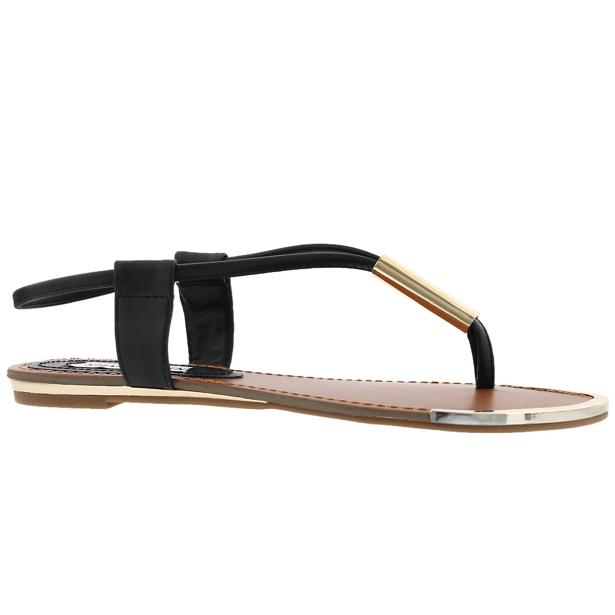 Women's HOLLAND black t-strap thong sandals