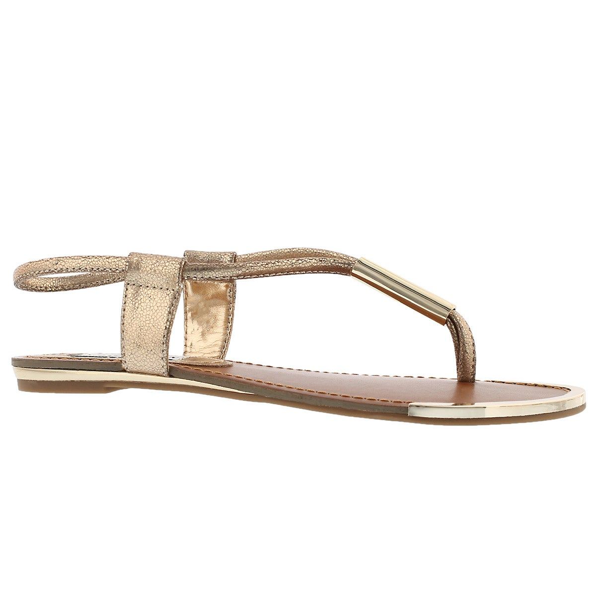 Women's HOLLAND gold t-strap thong sandals