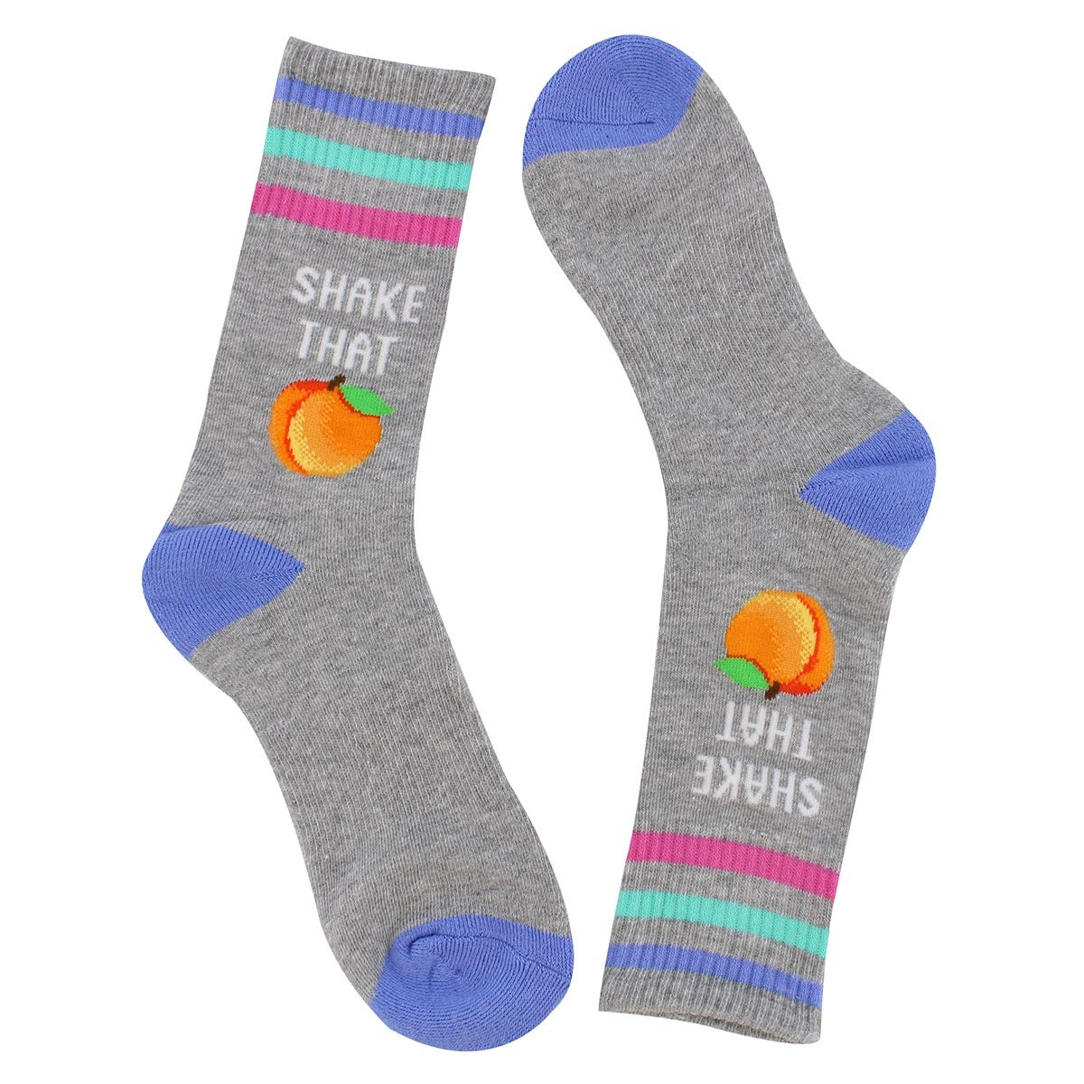 Lds Shake That Peach grey printed sock