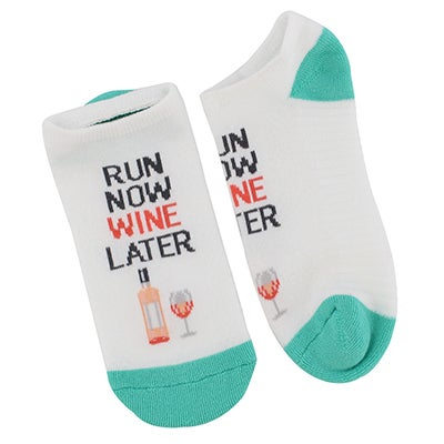 Hot Sox Socquette Run Now Wine Later,blanc,femme