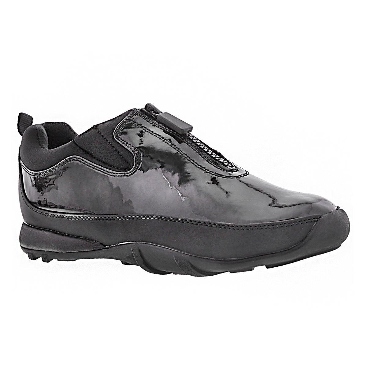 Lds Howdoo blk pat front zip rain shoe