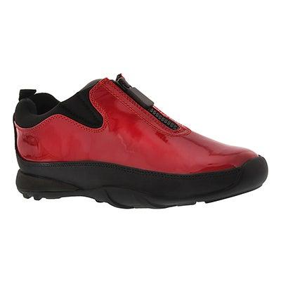 Lds Howdoo red pat front zip rain shoe