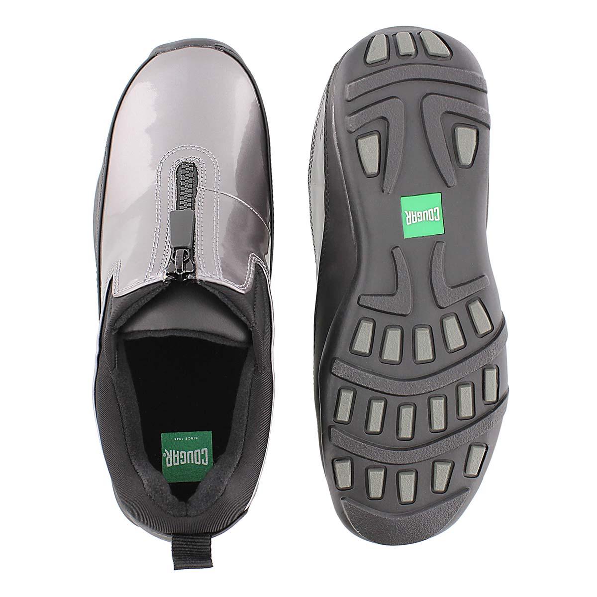 Lds Howdoo pewter front zip rain shoe