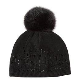 Lds raindrops w/ fur pom black beanie