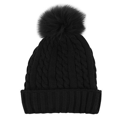 Lds blk/blk w/fur pom cable stitch hat