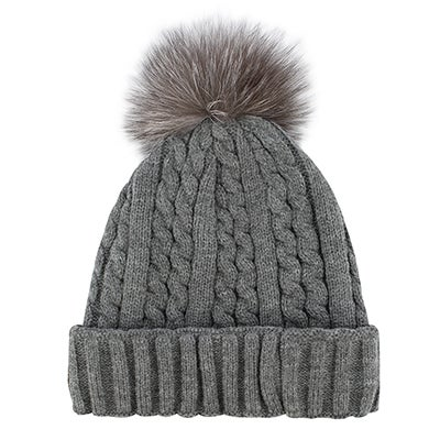 Lds grey w/fur pom cable stitch hat