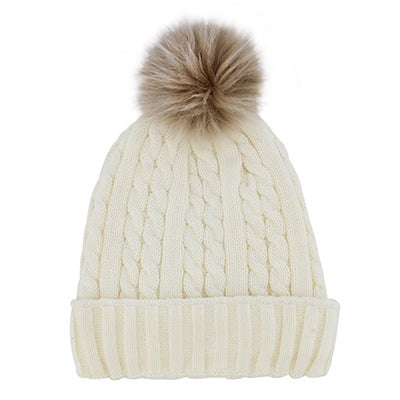Lds ivory w/fur pom cable stitch hat