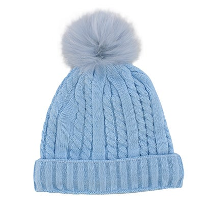 Lds lt blue w/fur pom cable stitch hat