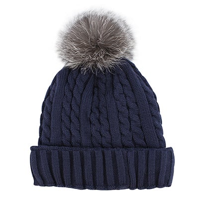 Lds navy w/fur pom cable stitch hat