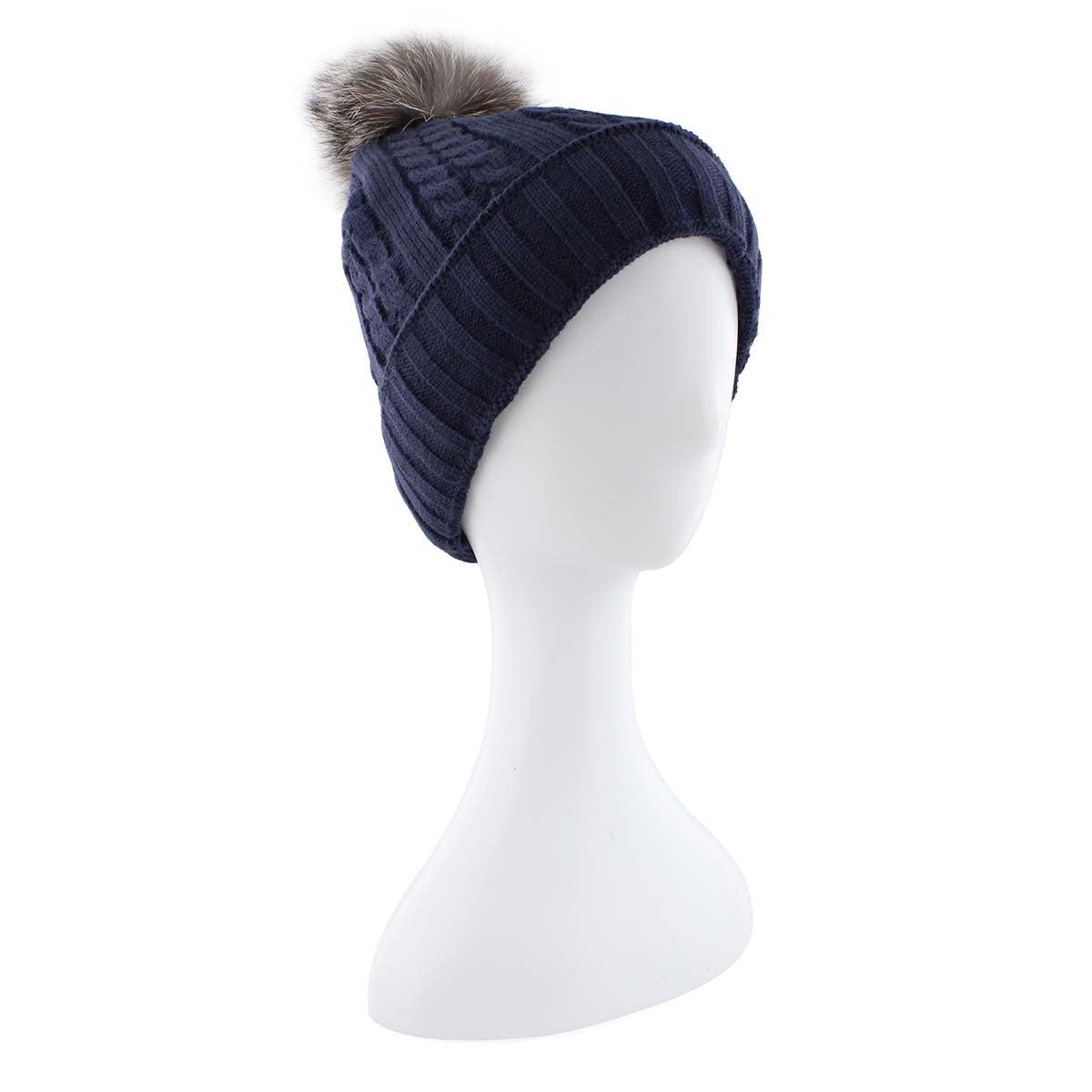 Women's navy with fur pom pom cable stitch hats